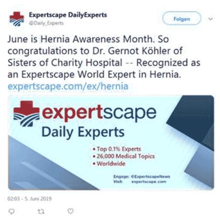 Köhler als einer der weltweit führenden Hernienexperten gekürt