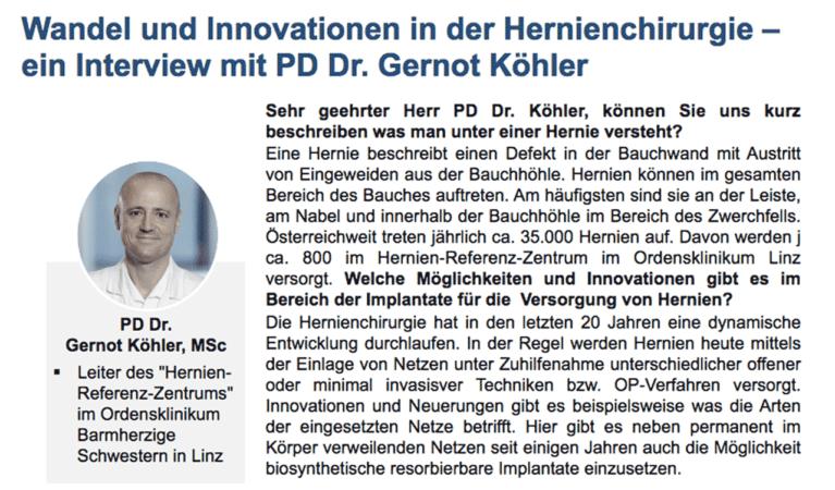 Experteninterview zu Innovationen in der Hernienchirurgie
