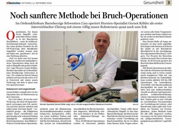 Köhler operiert mit Roboterarm